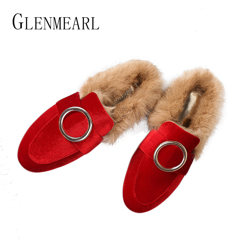 Brand Women Flats Shoes Real Rabbit Fur Slippers Plus Size Winter Autumn Warm Female Flat Heel slip shoes Casual Home Slippers30 vesonal brand faux fur women shoes flats 2017 winter warm velvet female fashion ladies woman sneakers casual footwear tsj 189