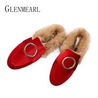 Brand Women Flats Shoes Real Rabbit Fur Slippers Plus Size Winter Autumn Warm Female Flat Heel
