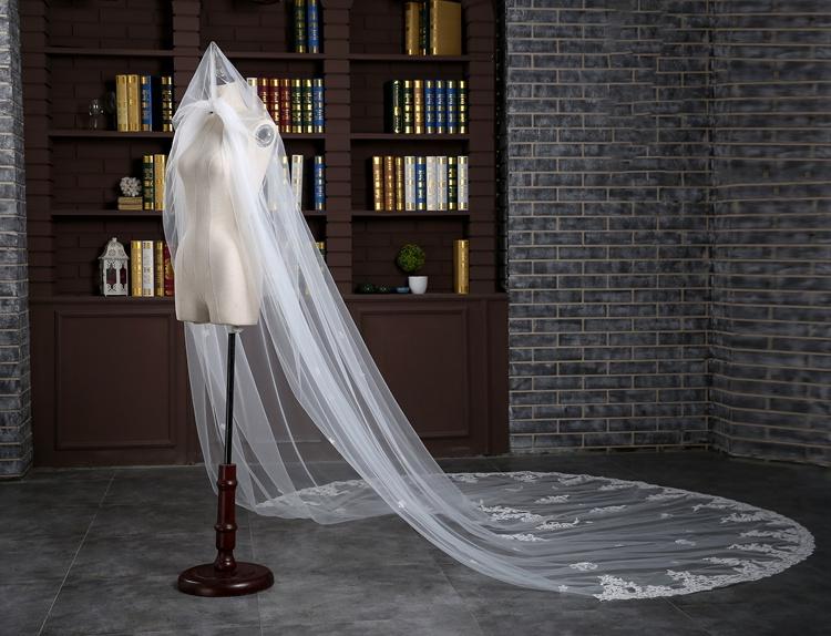 2017 Wedding Veils Wedding Bridal Veil 1 Layer Handmade Beaded Crescent edge Bridal Accessories Veil Ivory color (6)