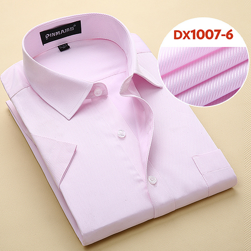 Summer Men's Short-sleeve White Basic Dress Shirt with Single Chest Pocket Standard-fit Business Formal Solid/twill/plain Shirts 8