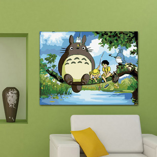 Aliexpress Buy Diy Digital Oil Painting Hand Child Cartoon Decorative Totoro Paint By Number Kits Gift For Kids Free Shipping From