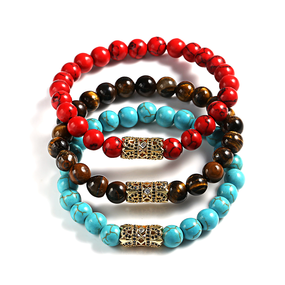 2018 New 8mm Micro Zircon Natural Stone Red Green Yellow Tiger Eye Bracelet Mens In Strand Bracelets From Jewelry Accessories On