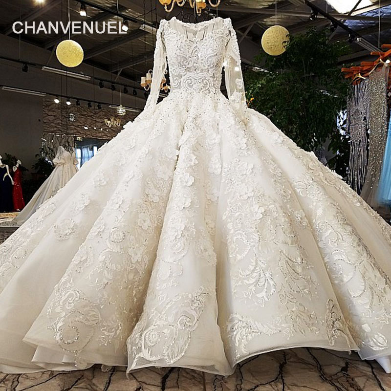 LS52811 2018 Luxury wedding dress o-neck ball gown lace up ivory and champagne bridal we ...