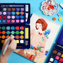 лучшая цена 24/36/48 Colors Portable Solid Watercolor Paint Set With Paint Brush Water Color Painting Pigment Set Art Supplies