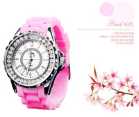 Lovely Happy Crystals Women Rubber Watches Korean Candy Color Jelly Wristwatch Quartz Analog Clock Brand Relojes