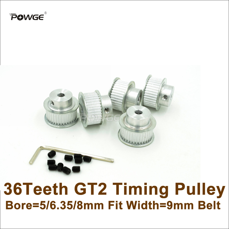 POWGE 5pcs 36Teeth 2GT Timing Pulley Bore 5/6.35/8mm Fit Width 9mm <font><b>GT2</b></font> Timing Belt 2GT-9 <font><b>36T</b></font> 36 Teeth <font><b>GT2</b></font> Pulley For 3D Printer image