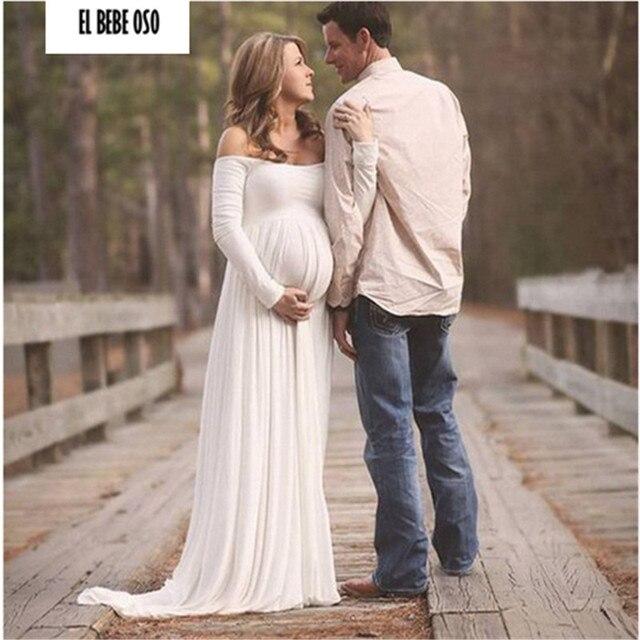 20037786a01a8 طويلة الأكمام الأمومة التصوير الدعائم ماكسي اللباس الحمل فساتين الحوامل  امرأة اطلاق النار الأبيض الشيفون الملابس