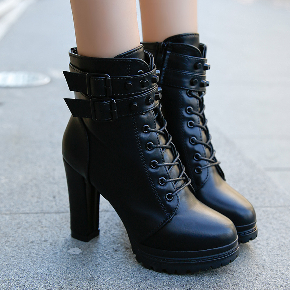 YOUYEDIAN Women Boots 2018 Ankle Boots For Women Lace Up Square Heel Winter Shoes Casual Super High Heel Boots Botas Mujer 1
