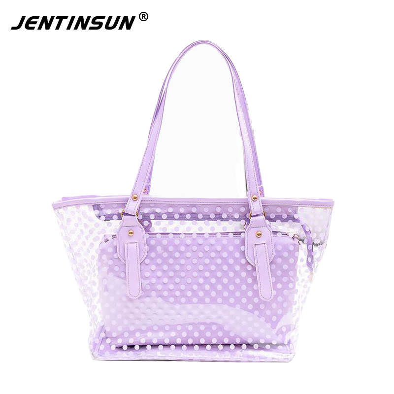 цена на Candy Color Handbag Women Composite Bags Polka Dot waterproof Sandy Beach Crystal Bag Shoulder Female Portable Large Bag Lady