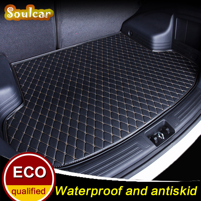 Leather Car trunk mats for Volkswagen VW SANTANA Touran Touareg 2008 2009 2010 2011 2012-2017 car floor rear cargo liner mats