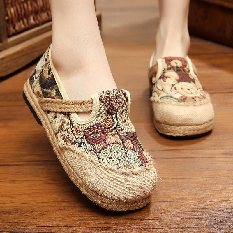 Women's Vulcanize Shoes Bear Print Shoes Rubber Women Casual Shoes Women Sneakers Trend Hemp Youth Canvas Animal Old Fashion Hot