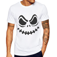 Limited Time Discount Men T-Shirt O-Neck Mens Cotton Top Jack Skellington Printing Man Short Sleeve Tees Playeras De Hombre