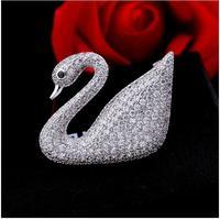 Edizione coreana micro-set AAA zircone swan spilla di alta grade ad alta livello spilla corea del sud accessori pin grazioso cigno