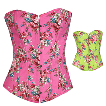 NEW rose flower colorful wedding underbust Sexy Waist Workout Cincher Body Shaper Shapewear Corset S-XXL 0850 Women girl
