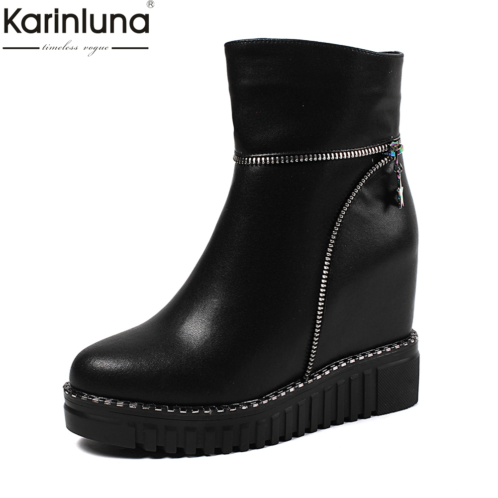 KARINLUNA 2018 Genuine Cow Leather Wholesale Zip Up Ankle Boots Woman Shoes Increasing Heels Add Fur Winter Boots Female Shoes karinluna 2018 plus size 30 50 pointed toe square heels add fur warm winter boots woman shoes woman ankle boots female