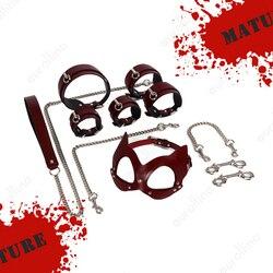 Lampskin Leather Lining BDSM Adult Woman Toys Bondage Genuine Cow Leather Handcuffs Ankle Cuff Wrist Cuff Restraint Leash Choker