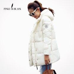 Pinky هو أسود الشتاء سترة النساء سترة محشوة الإناث ملابس خارجية ضئيلة سترة متوسطة طويلة القطن وسادة مبطنة سيدة معطف غير رسمي