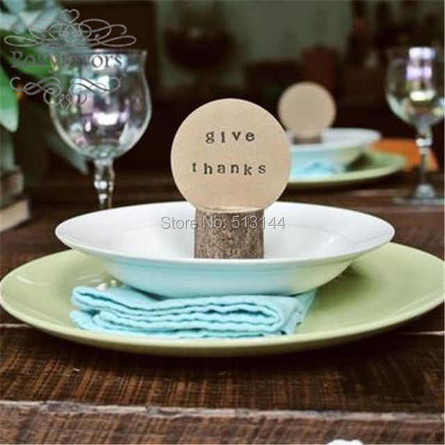 free shipping 100pcs x rustic wooden wedding decor venue name place card holders log name card