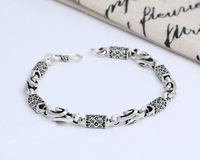 DL Antique Silver 925 Men Bracelets Hand catenary 100% Real Solid 925 Sterling Silver Jewelry S102