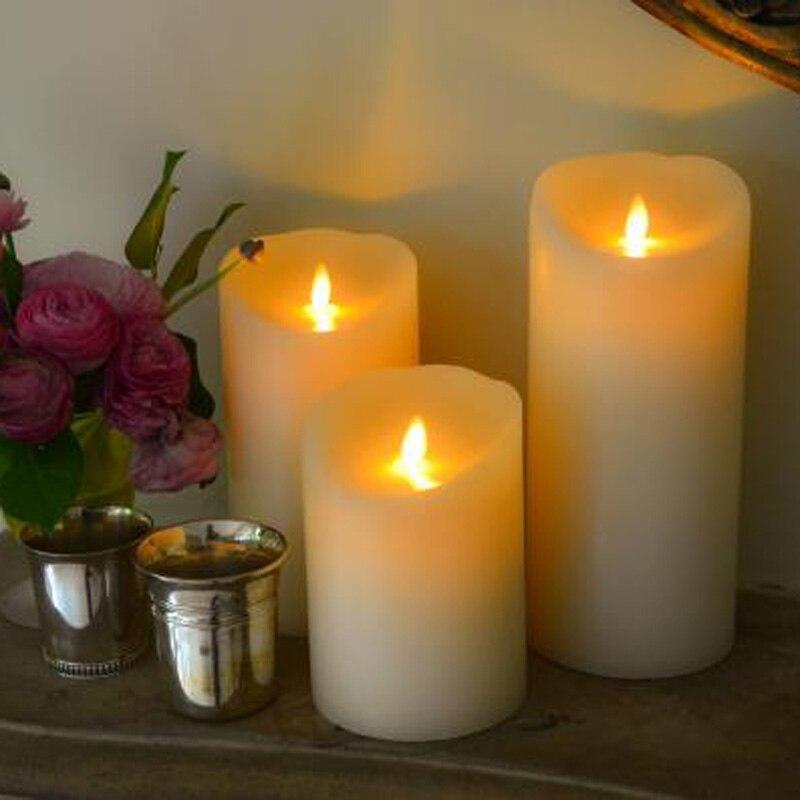 elegant led wedding candles set of 3 flameless luminara led candles with timer function for indoor - Flameless Candles With Timer