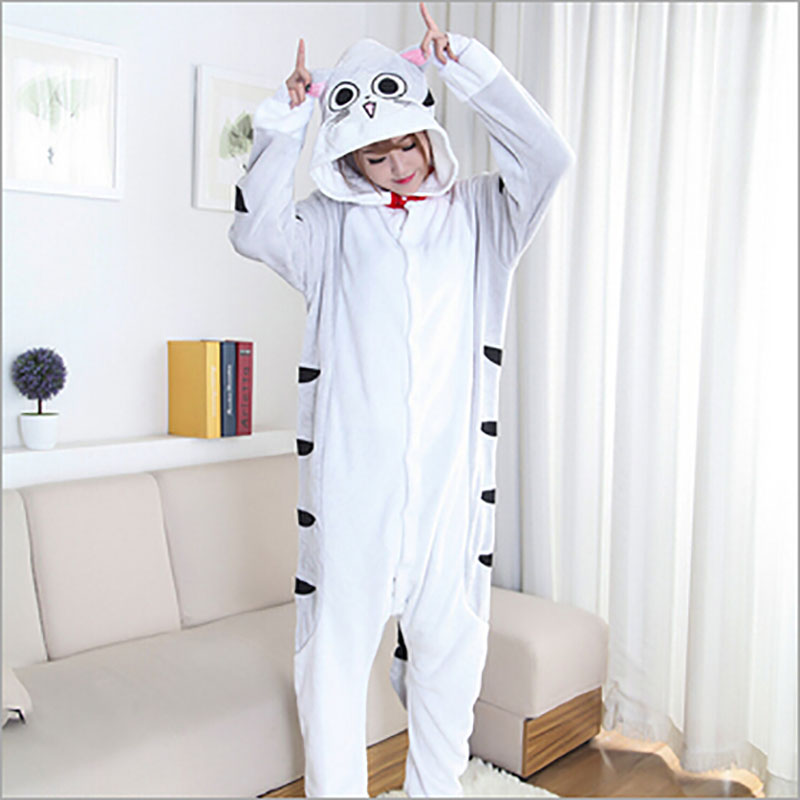 Special Offer Womens Character Cat Pattern Animal Costume Full Sleeve Microfiber Sleep Lounge Onesies Pajamas ...