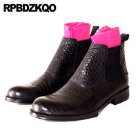 Dress Men Stylish Chunky Booties Party Ankle Snakeskin Full Grain Leather Boots Black Shoes Chelsea Formal Crocodile Plus Size