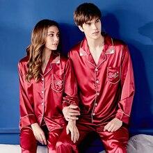 Xifenni Silk Pajama Sets Female High Quality Faux SILK Couple Sleepwear Man Woman Red Long-Sleeve Nightwear 2-Pieces X9934