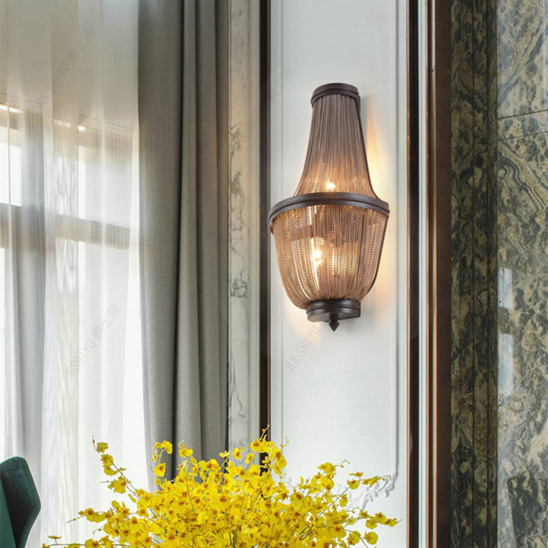 American Retro Industrial Wind Tassel Aluminum Chain Wall Lamp For Living Room Bedroom Background Wall Sconce Light Fixtures