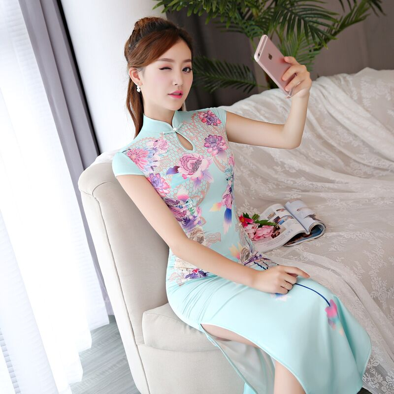 New Arrival Chinese Style Long Cheongsam Women s Satin Polyester Maxi Qipao Dress Vestido Size S