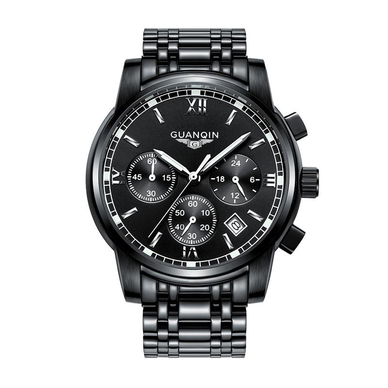 GUANQIN GS19018 watch Men Business Top Brand Silver Steel Quartz Watch Luminous Sport Clock Men's Fashion Casual Wristwatch mike 8831 men s business casual quartz watch silver blue