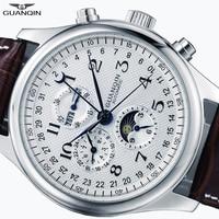 GUANQIN Relogio Masculino Automatic Mechanical Men Watches Waterproof Calendar Moon Leather Wristwatch otomatik erkek saat A