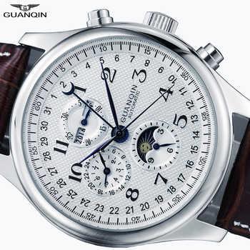 GUANQIN Relogio Masculino automatique saphir mécanique hommes montre étanche calendrier cuir montre-bracelet otomatik erkek saat
