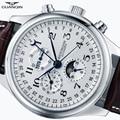 GUANQIN reloj de pulsera de cuero de luna de calendario a prueba de agua reloj mecánico automático para hombre otomatik erkek saat