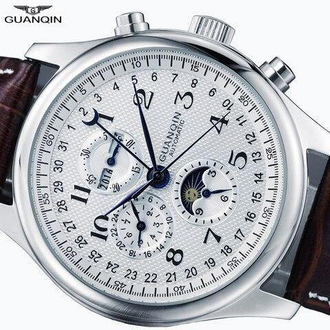Calendário à Prova Relógio de Pulso Guanqin Relógio Masculino Automático Relógios Mecânicos Men Dwaterproof Água Lua Couro Otomatik Erkek Saat
