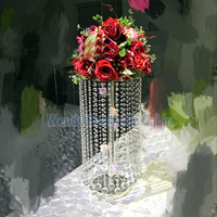 60cm Tall Wedding crystal centerpiece Table Flower Stand Metal candle holders 10 pcs/lot