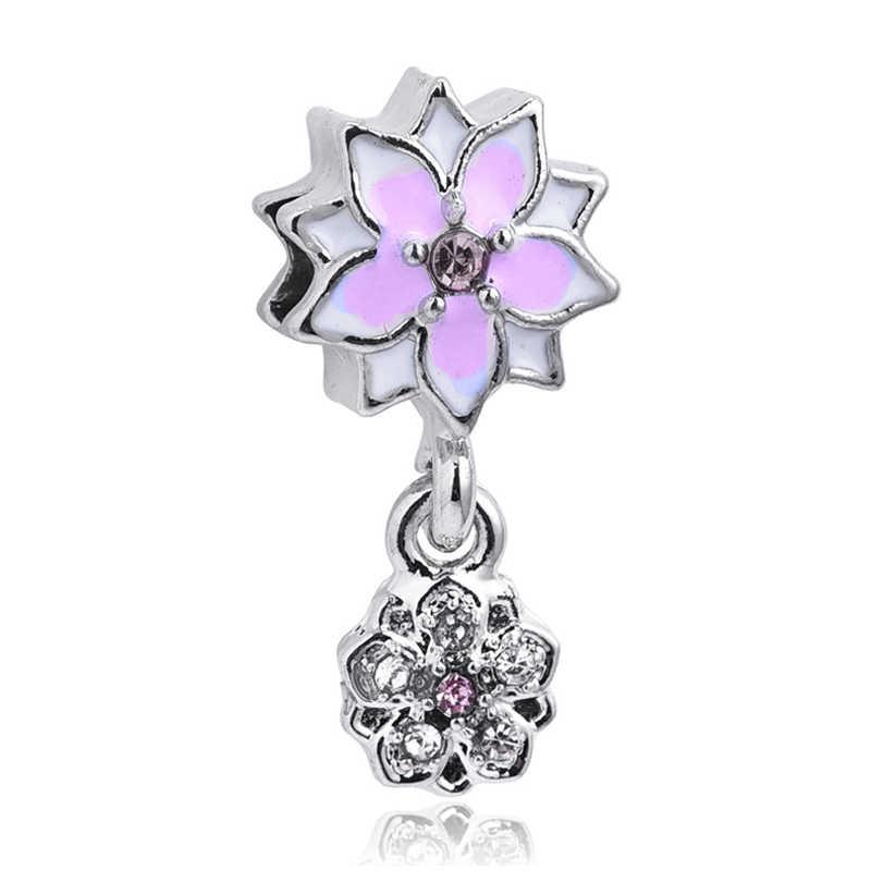 2019 wiosna nowy Europea srebrny różowy Magnolia kwitnący kwiat koralik urok pasuje Pandora Charm bransoletki biżuteria