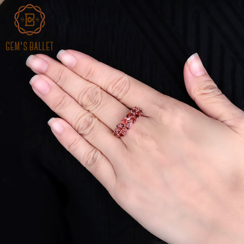 GEM'S BALLET 2.47Ct Natural Red Garnet Gemstone 925 Sterling Silver Rose Gold Plated Wedding Band Rings for Women Fine Jewelry
