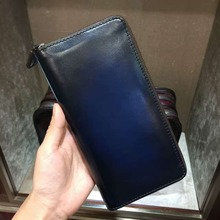 TERSE_Large capacity handmade purse mens genuine leather long wallet in 4 colors with phone pocket/ card holder custom service