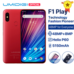 Перейти на Алиэкспресс и купить umidigi f1 play android 9.0 48mp+8mp+16mp cameras 5150mah 6gb ram 64gb rom 6.3дюйм. fhd+ helio p60 global version smartphone dual 4g