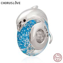 Cute Dolphin on Blue Sea Murano Glass Charm 925 Sterling Silver Bead for European Ocean Style Bracelet mistletoe jewelry 925 sterling silver large hole light blue 3d flowers murano glass charm bead fit european bracelet