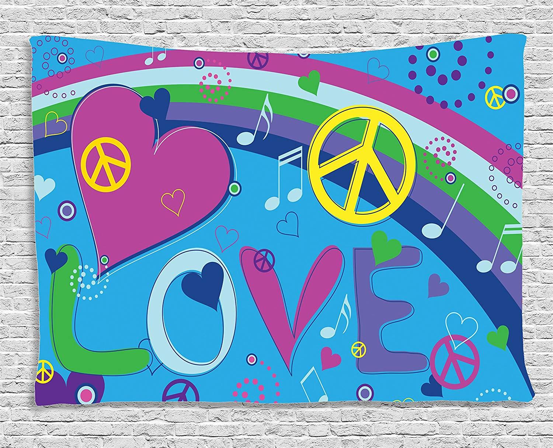 Groovy décorations Collection amour paix arc-en-ciel et cœurs Notes de musique touches typographie Seventies mouvement chambre tapisserie