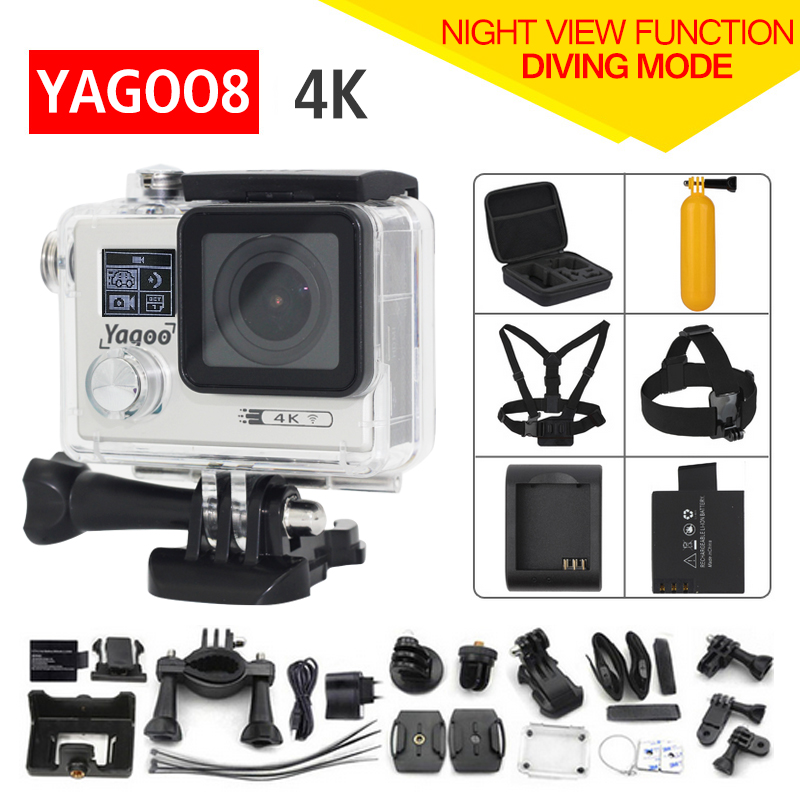 Original Yagoo8 remote Action camera Ultra HD 4K WiFi 1080P/60fps 2.0 LCD 170D lens Helmet Cam go waterproof pro camera