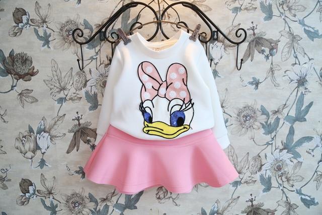Ropa de las muchachas set Donald Duck traje vestido de fiesta de manga larga y de la boda del bebé niñas traje de Deporte casual envío gratis chicas ropa
