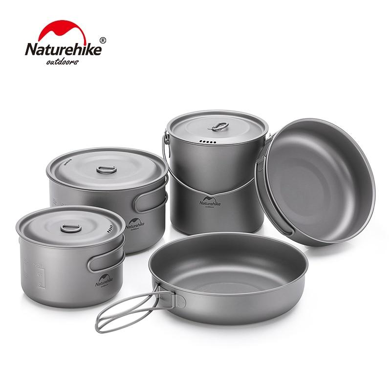 Naturehike Titanium 2-3 Persons Tableware Outdoor Picnic Camping Cookware Pot Pan Ultralight Titanium Camping Cookware