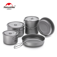 Naturehike Titanium 2 3 Persons Tableware Outdoor Picnic Camping Cookware Pot Pan Ultralight Titanium Camping Cookware