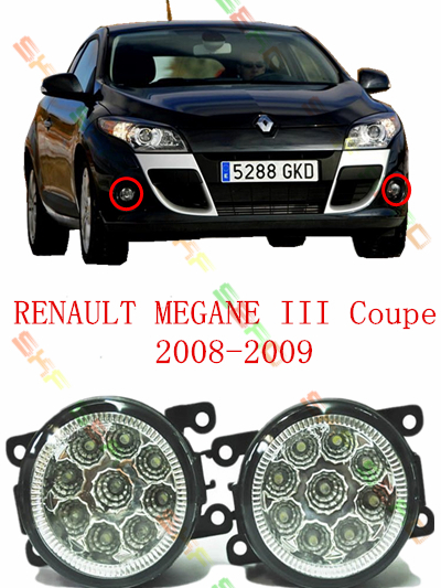 For RENAULT MEGANE 3/III Coupe  2008-2009  car styling led Refit fog lights lamps   12V  2 PCS  White  Yellow renault megane coupe 1999