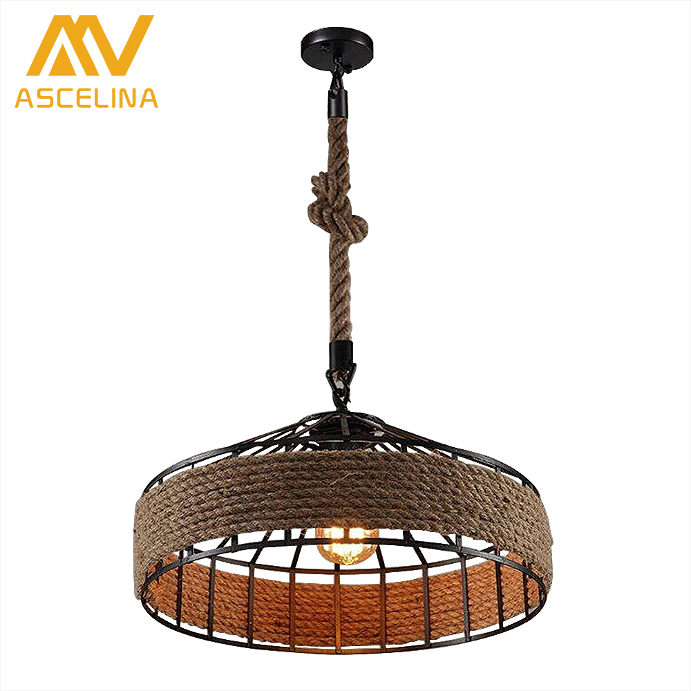 ASCELINA Rope Lampe Hang lamp Retro Pendant Light Industrial Lighting Vintage Rope Pendant Light Vintage Edison Bulb Loft Retro ascelina vintage wicker pendant lamp hand knitted hemp rope iron pendant light loft lamps american lighting edison bulb for home