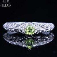 HELON одноцветное Белое золото 14 карат Огранка треугольник 0.26ct натуральный Перидот бриллианта обручальное свадебное кольцо филигрань MIlgrain,