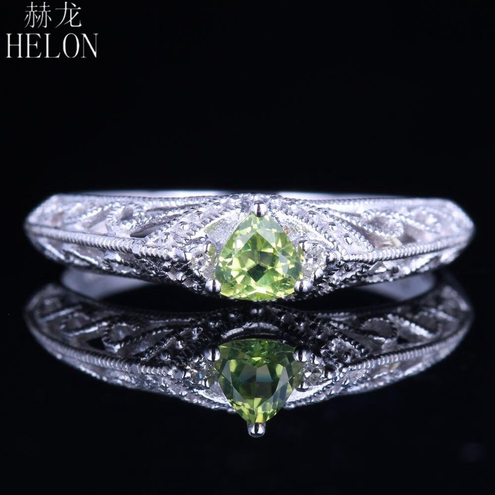 HELON solide 14 K or blanc Trillion coupe 0.26ct péridot naturel diamants bague de fiançailles mariage filigrane MIlgrain bijoux fins