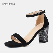 2019 fashion womens sandals genuine leather suede sheepskin ankle strap black glitter block heels minimalism simple style shoes